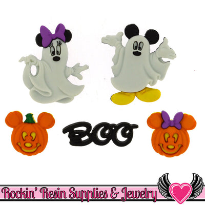 Disney Minnie & Mickey Mouse Halloween Ghosts and Pumpkins Licensed Buttons - Rockin Resin  - 1