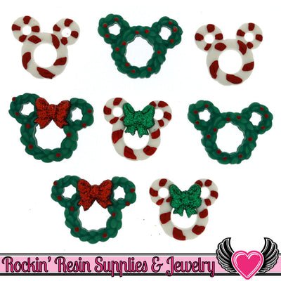 Disney Minnie & Mickey Mouse Christmas Wreaths and Candy Canes Licensed Buttons - Rockin Resin  - 1
