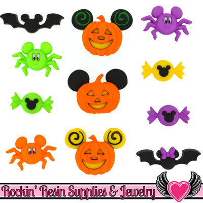 Disney Minnie & Mickey Mouse Halloween Bats, Jackolantern, Spiders, and Candy Licensed Buttons - Rockin Resin  - 1
