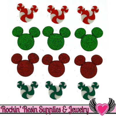 Disney MICKEY MOUSE HEADS Christmas Candy and Glitter Licensed Buttons - Rockin Resin  - 1