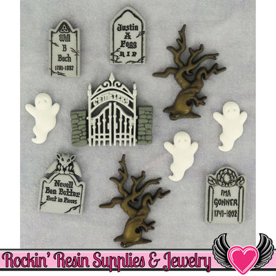 Jesse James Buttons 10 pc GRAVEYARD GHOSTS Halloween Headstone Buttons - Rockin Resin  - 1