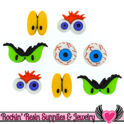Jesse James Buttons 8 pc MONSTER EYES Halloween Buttons - Rockin Resin  - 1