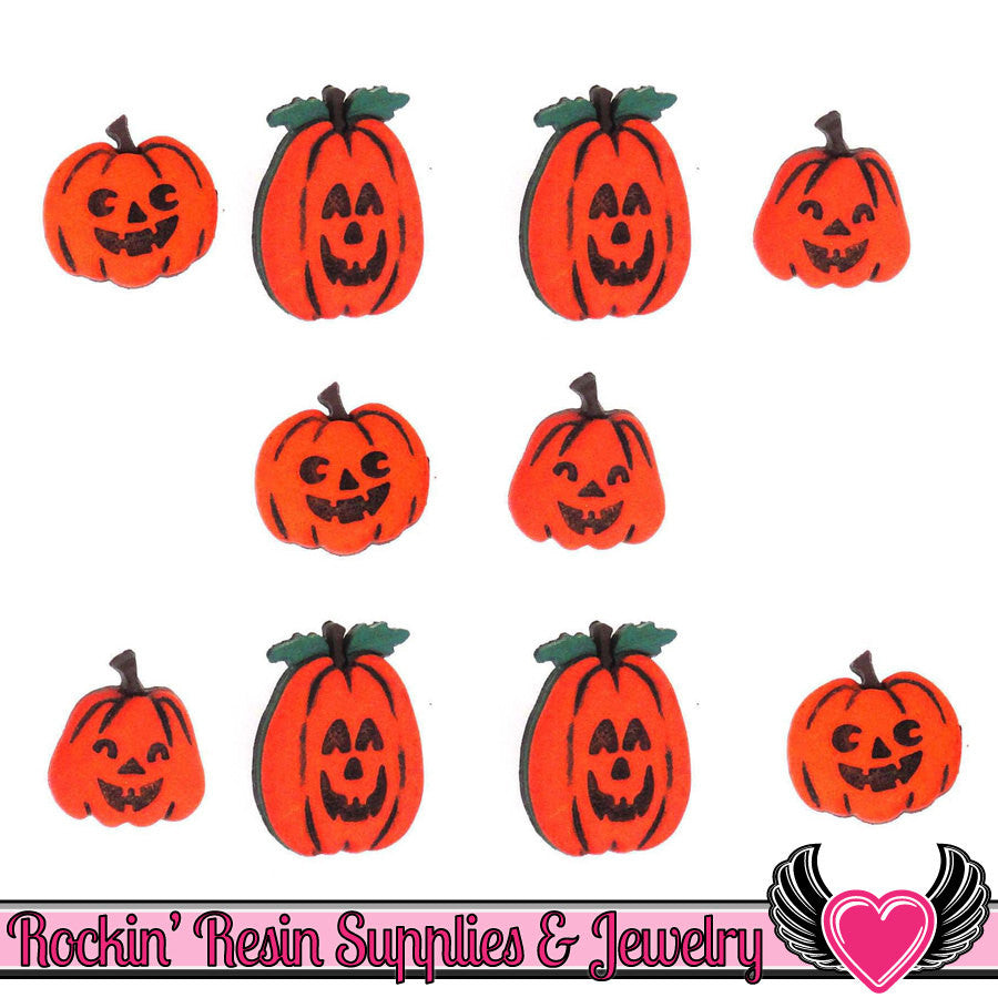 Jesse James Buttons 10pc JACK-o-LANTERNS Halloween Buttons - Rockin Resin  - 1