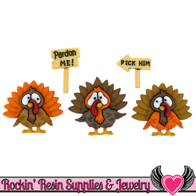 Jesse James Buttons 5 pc TURKEY TROT Thanksgiving Buttons - Rockin Resin  - 1