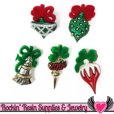Jesse James Buttons 5pc CHRISTMAS ORNAMENTS Buttons - Rockin Resin  - 1