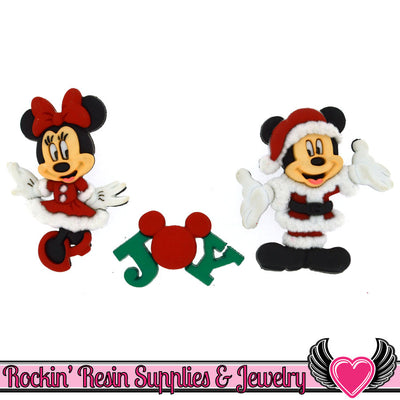 Disney Minnie & Mickey Mouse Christmas Santa and Mrs. Claus Licensed Buttons - Rockin Resin  - 1