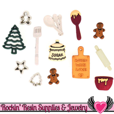 Jesse James Buttons 13pc CHRISTMAS COOKIES Baking Buttons - Rockin Resin  - 1