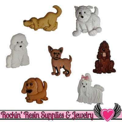 Jesse James Buttons 7 pc PUPPY PARADE Dog Buttons - Rockin Resin  - 1