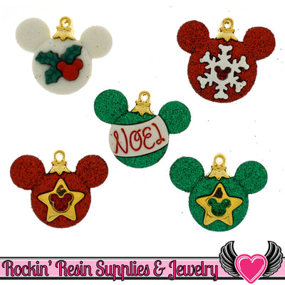 Disney MICKEY MOUSE CHRISTMAS Ornaments Licensed Buttons - Rockin Resin  - 1