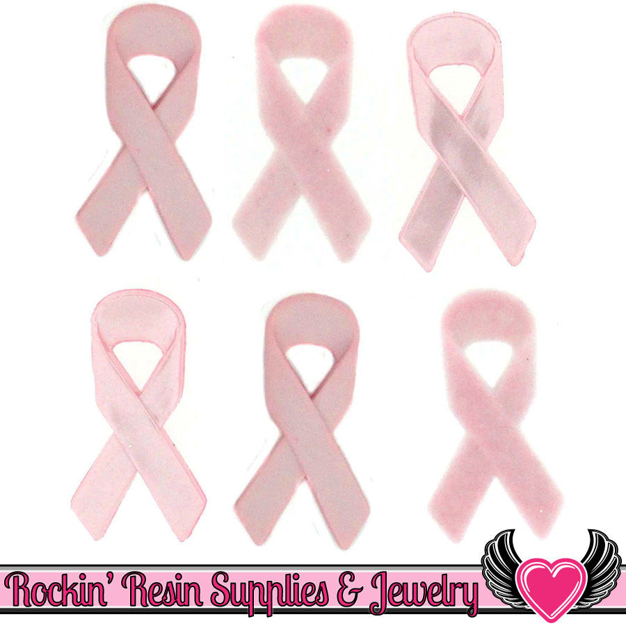 Jesse James Buttons 6 pc Breast Cancer Awareness Pink Ribbon Buttons - Rockin Resin  - 1