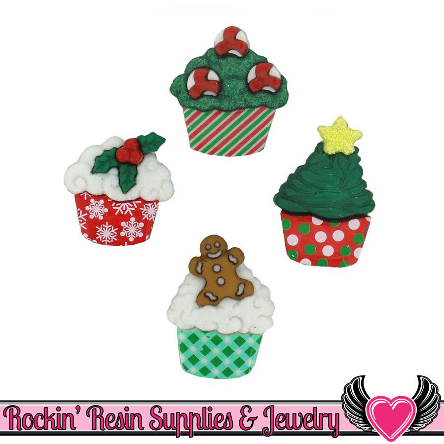 Jesse James Buttons 4pc CHRISTMAS CUPCAKES Buttons