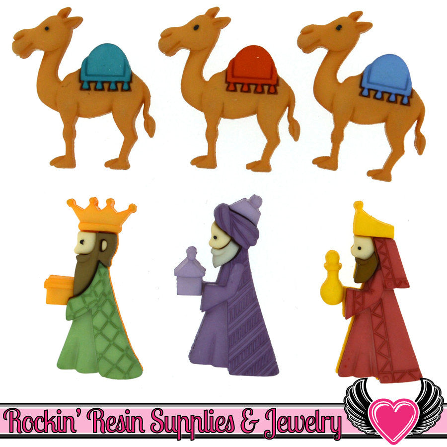 Jesse James Buttons 6pc We The Kings Christmas Nativity Buttons - Rockin Resin  - 1