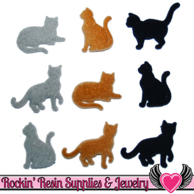 Jesse James Buttons 9 pc COUNTRY CATS Flocked Buttons - Rockin Resin  - 1