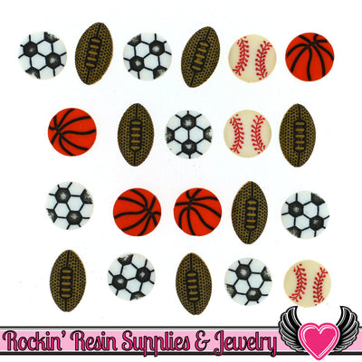 Jesse James Buttons 25 pc Tiny Sports Equipment Buttons - Rockin Resin  - 1