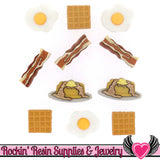 Jesse James Buttons 11pc OVER EASY Breakfast Waffles, Pancakes, Bacon, and Eggs Buttons - Rockin Resin  - 1