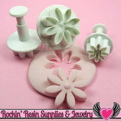 3 pc DAISY FLOWER Plunger Cutters - Rockin Resin  - 1