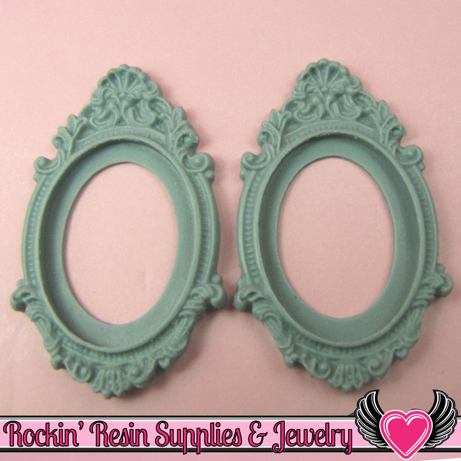 2 pcs 30x40mm Inset Victorian Resin CAMEO SETTING Base Bezel in Sage Green