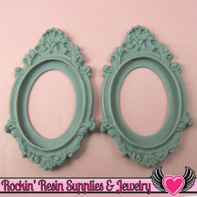 2 pcs 30x40mm Inset Victorian Resin CAMEO SETTING Base Bezel in Sage Green - Rockin Resin