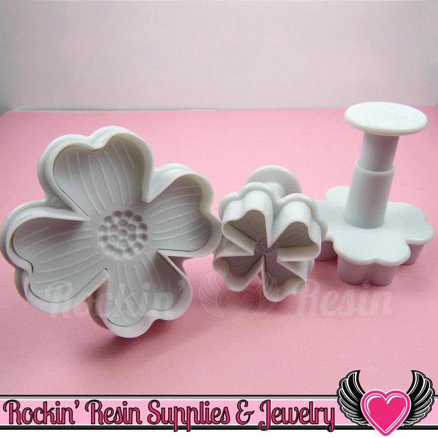 3pc 4 Petal FLOWER Embossing Plunger Cutters