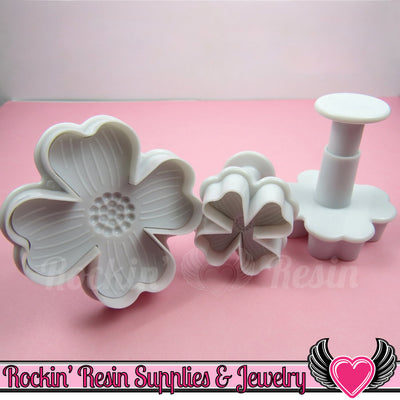 3pc 4 Petal FLOWER Embossing Plunger Cutters - Rockin Resin  - 1