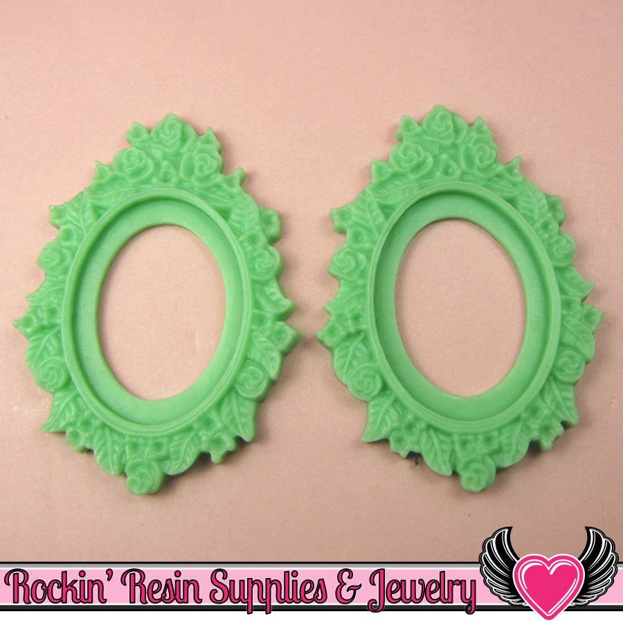 2 pcs 30x40mm Flower Resin CAMEO SETTING Bezel in Light Jadeite Green