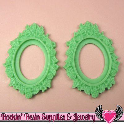 2 pcs 30x40mm Flower Resin CAMEO SETTING Bezel in Light Jadeite Green - Rockin Resin