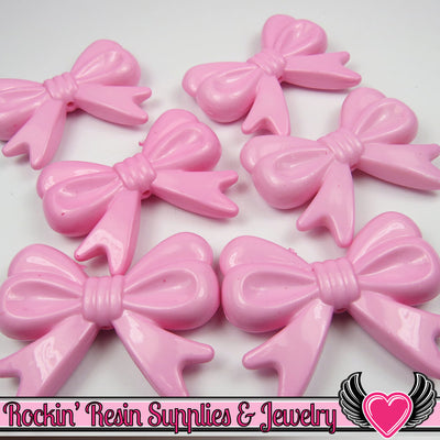 46mm LARGE Light Pink BOW BEADS (4 pieces) - Rockin Resin  - 1