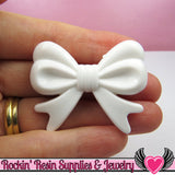 46mm LARGE White BOW BEADS  (4 pieces) - Rockin Resin  - 1