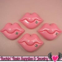 3 pcs PLUMP LIPS with Crystal Stud in Light Pink Kawaii Flatback Cabochon 44x30mm - Rockin Resin