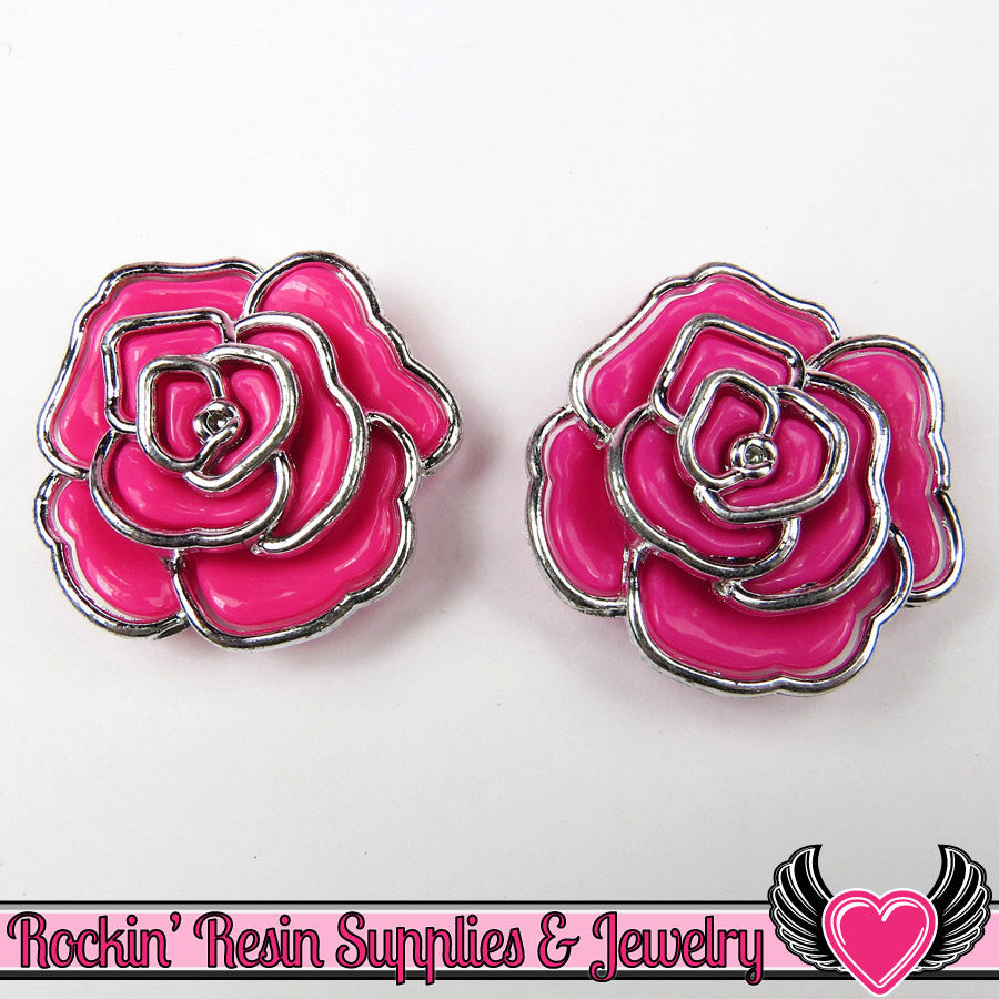 Silver Edge Frame Pink Acrylic Rose Beads 34mm, 2 hole beads (5 pieces)