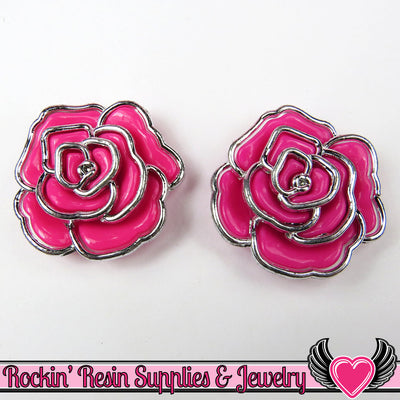 Silver Edge Frame Pink Acrylic Rose Beads 34mm, 2 hole beads (5 pieces) - Rockin Resin  - 1