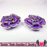 Silver Edge Frame Purple Acrylic Rose Beads 34mm 2 hole beads (5 pieces) - Rockin Resin  - 2