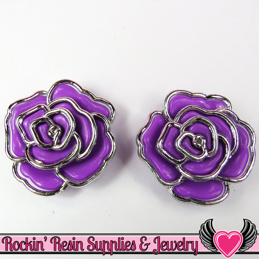 Silver Edge Frame Purple Acrylic Rose Beads 34mm 2 hole beads (5 pieces)