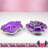 Silver Edge Frame Purple Acrylic Rose Beads 34mm 2 hole beads (5 pieces) - Rockin Resin  - 3