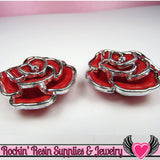 Silver Edge Frame Red Acrylic Rose Beads 34mm, 2 hole beads (5 pieces) - Rockin Resin  - 2