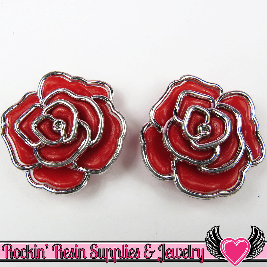 Silver Edge Frame Red Acrylic Rose Beads 34mm, 2 hole beads (5 pieces)
