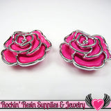 Silver Edge Frame Pink Acrylic Rose Beads 34mm, 2 hole beads (5 pieces) - Rockin Resin  - 2