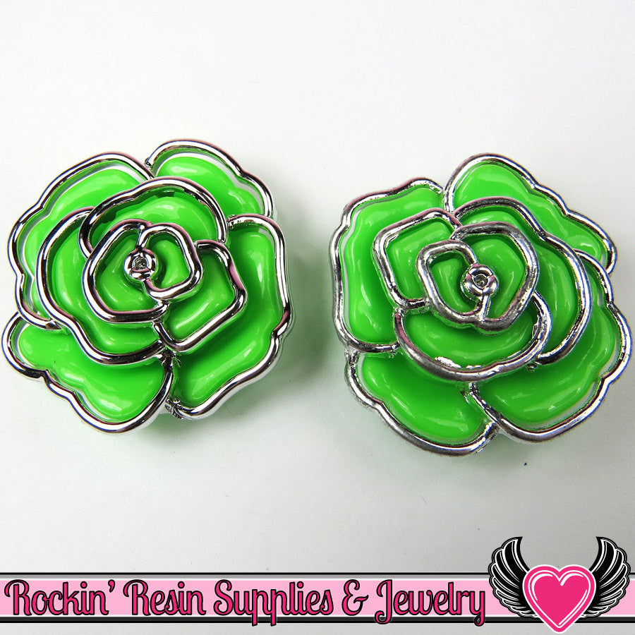 Silver Edge Frame Green Acrylic Rose Beads 34mm 2 hole beads (5 pieces)
