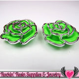 Silver Edge Frame Green Acrylic Rose Beads 34mm 2 hole beads (5 pieces) - Rockin Resin  - 2