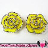Silver Edge Frame Yellow Acrylic Rose Beads 34mm 2 hole beads (5 pieces) - Rockin Resin  - 1
