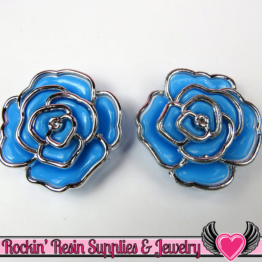 Silver Edge Frame Blue Acrylic Rose Beads 34mm 2 hole bead (5 pieces)