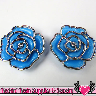 Silver Edge Frame Blue Acrylic Rose Beads 34mm 2 hole bead (5 pieces) - Rockin Resin  - 1