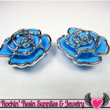 Silver Edge Frame Blue Acrylic Rose Beads 34mm 2 hole bead (5 pieces) - Rockin Resin  - 2