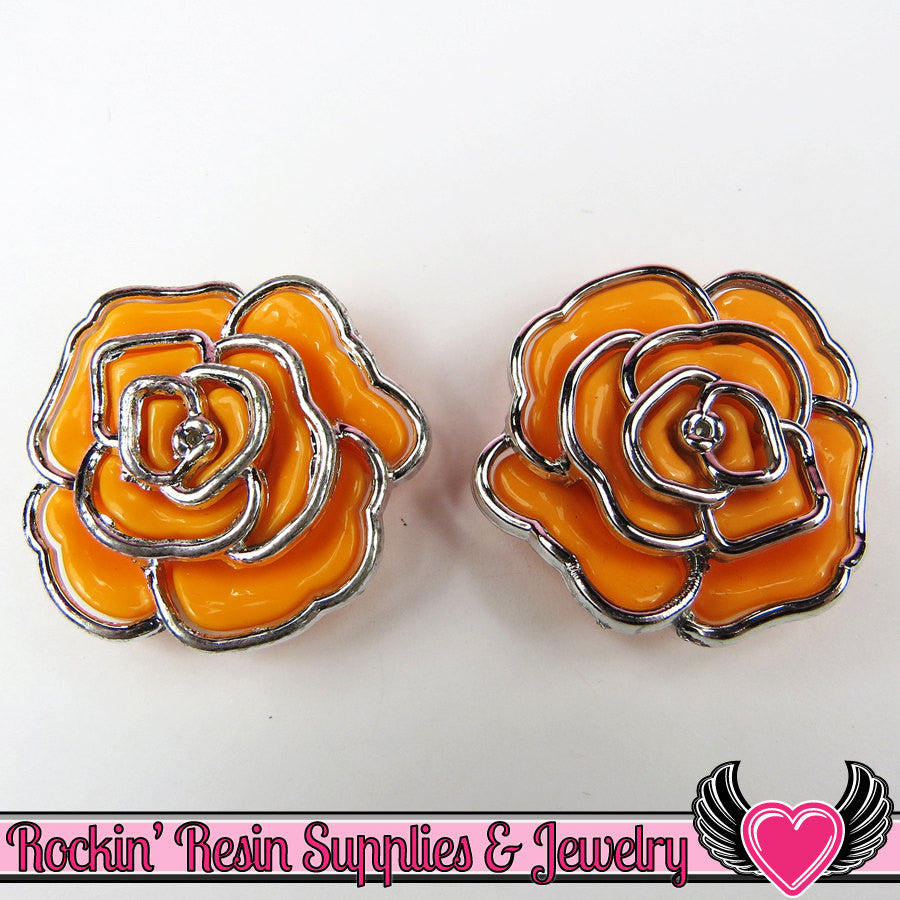 Silver Edge Frame Orange Acrylic Rose Beads 34mm 2 hole beads (5 pieces) - Rockin Resin  - 1