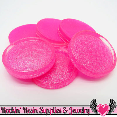 Hot Pink Glitter Resin 25mm Round Cameo Settings/Bezels (8 pieces) - Rockin Resin  - 1