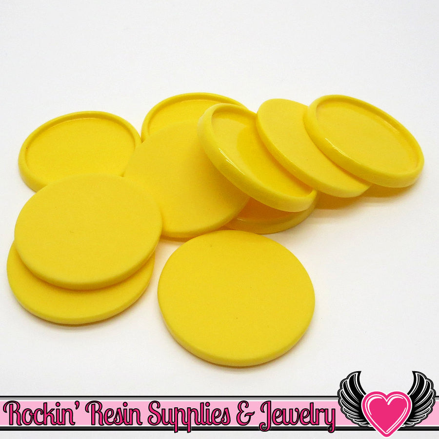 Yellow 1 inch Round Cameo Settings 25mm Resin Bezel 10 pieces - Rockin Resin  - 1