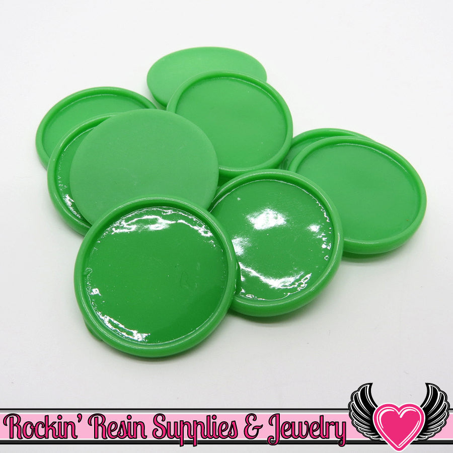 Green 1 inch Round Cameo Settings 25mm Resin Bezel 10 pieces