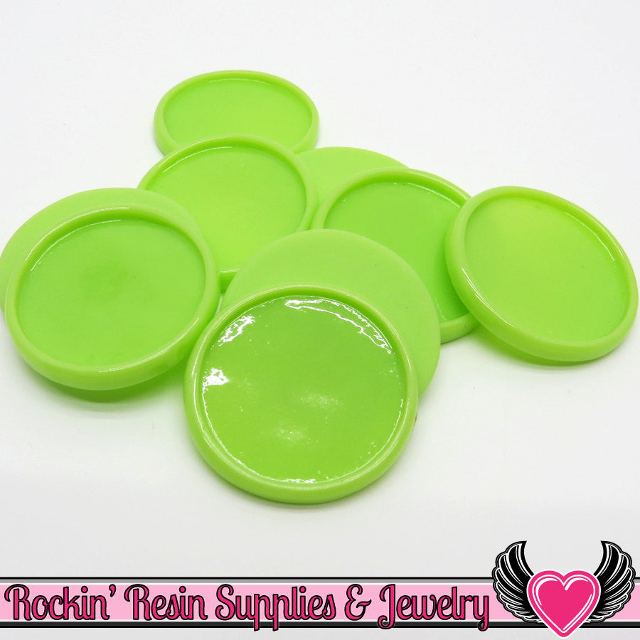 Lime Green 1 inch Round Cameo Settings 25mm Resin Bezel 10 pieces