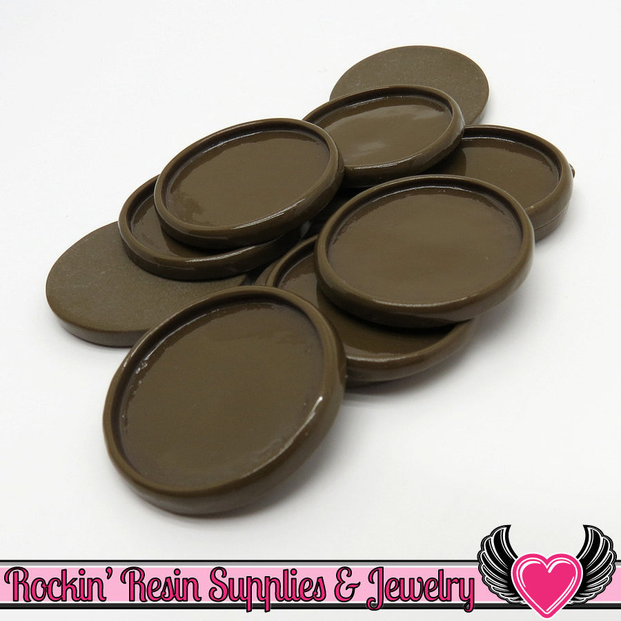 Brown 1 inch Round Cameo Settings 25mm Resin Bezel 10 pieces