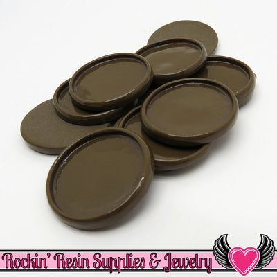 Brown 1 inch Round Cameo Settings 25mm Resin Bezel 10 pieces - Rockin Resin  - 1